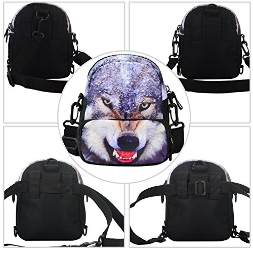 bistar Galaxy 3D Motif Animal Sac à bandoulière Fashion Taille Sac à dos Multicolore - Loup