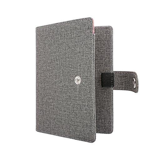 MoKo RFID Bloqueo de la billetera del titular del pasaporte,Funda de pasaporte multiusos Funda de viaje de cuero PU con cierre de botón a presión - Gris claro