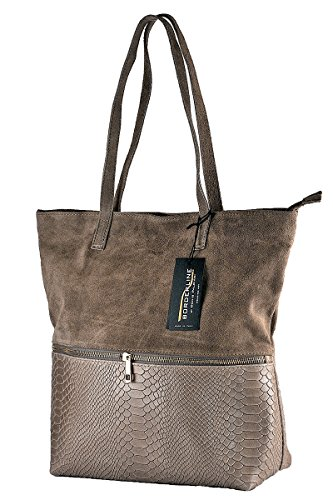 BORDERLINE - 100% Made in Italy - Borsa Morbida in Camoscio - DORI Taupe