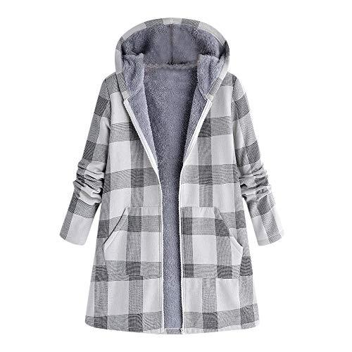 i-uend 2019 Damen Mantel, Warm Langen Plaid Mantel Pelzkragen Kapuzenjacke Schlank Winter Hooded Parka ()