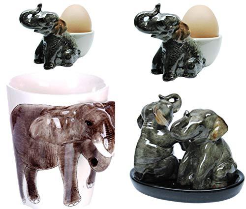 b2see Keramik Elefant Tasse/Salz Pfeffer/Eierbecher Set/Geschenk mit Elefant aus Keramik Set 6 teilig
