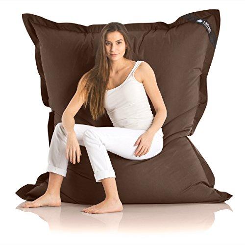 Original LAZY BAG Indoor & Outdoor Sitzsack XXL 400L Riesensitzsack Sitzkissen Sessel für Kinder & Erwachsene 180x140cm (Braun)
