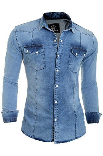 D&r fashion shirt spessi denim jeans degli uomini con normale collare e tasche
