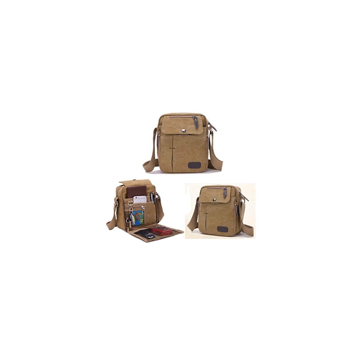 51BtwIHL33L. SS1200  - Outreo Bolsos de Tela Pequeñas Bolso Bandolera Hombre Bolsos Originales Vintage Bolsas de Viaje para Tablet Escolares Bolsa de Lona Colegio Universidad Libro Sport Messenger Bag