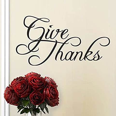 Give Thanks Vinyl Wall Decal Thanksgiving Wall Quotes Wall Stickers Wall Graphic Wall Mural Home Art Decoration