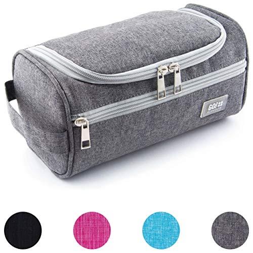 GO!elements® Smart Kulturbeutel Unisex Kulturtasche zum Aufhängen Herren & Damen | Kosmetiktasche Männer Frauen für Koffer & Handgepäck | Waschtasche Reise-Tasche (Grau)