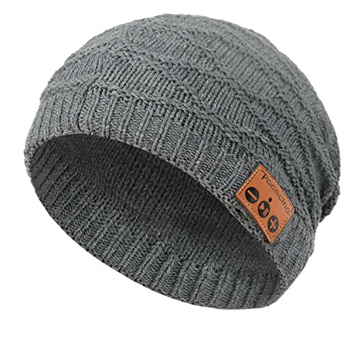 Pococina Bluetooth Slouch Beanie, Weiche Knit Mütze Hut mit Eingebauter Kabelloser Kopfhörer, Winter Unisex Strickmütze für Skateboardfahren, Skifahren, Wanderung, Reise und Gassi gehen (Dunkles (Kostüme Drucken Dunkle)