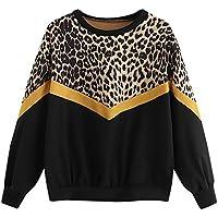 Sudadera para Mujer,Moda Manga Larga Casual Patchwork Leopardo Sudaderas Cortos Invierno Cuello Redondo Jersey