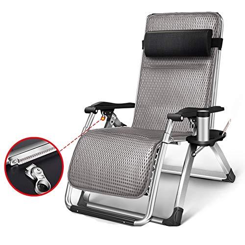 Liegestuhl Einstellbare Schwerelosigkeit Lounge Chair Recliner, Mit Getränkehalter Und Matte - Heavy Duty Erweitern Patio Deck Chair - Unterstützt 440lbs (Color : Gray)