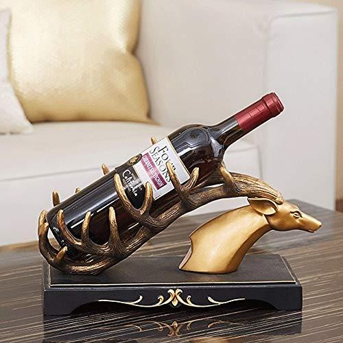 SHENW Elegante Rotwild-Kopf-Weinregal Durable Harz-Material Tabletop Wein Storage Rack-Ausgangsdekoration Weinhalter Bar Aufsatz- Anzeige Weinhalter Traditionelle Weinregal -
