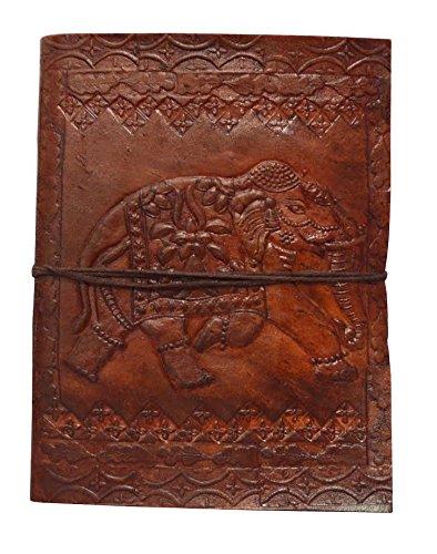 Zap Impex Handgefertigtes Echtleder-Album, geprägtes Elefanten-Fotoalbum, Galerie-Album, Leder-Tagebuch-Album Handgefertigt in Indien (7 x 5) Zoll (Leder-album 5x7)