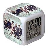 Skisneostype K-Pop BTS 7Color LED Reloj Despertador Digital Dibujos Bonitos Bangtan Niños Toque Noche Luz Reloj de Escritorio - H07