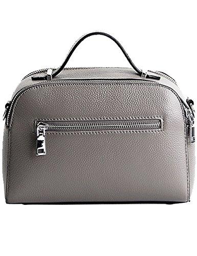 Menschwear Damen Echtes Leder Handtasche Elegant Taschen Rot Grau