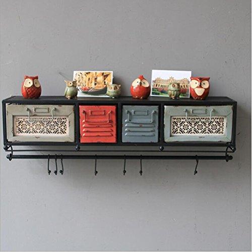 DUO Bücherregal Regale Loft Retro Regal Wand Dekoration Eisen mit Schubladen 77 * 17 * 21,5 cm Hängeregal, (Schublade Wein)