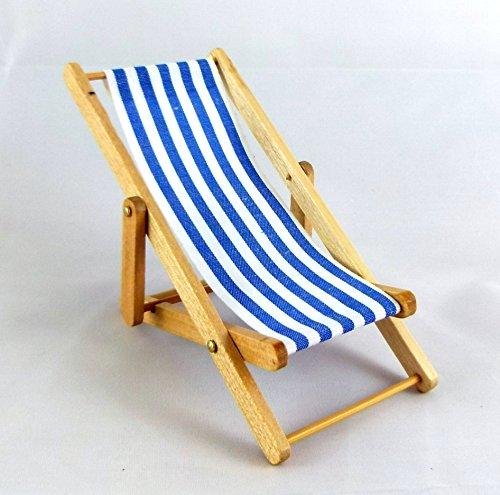 Miniatura Per Casa Delle Bambole 1:12 Giardino Spiaggia Mobili Righe Blu Pieghevole Sedia A Sdraio