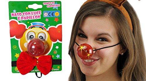 ück Nase mit Licht LED + Fliege Clown Nasen Nose Clown Schwamm Party Party Kostüm Cosplay Kleid Karneval (Clown Kleider)