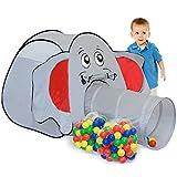 LittleTom Elefanten Bällebad Zelt 200 Baby Bälle Spielzelt 100x100x102cm Tunnel