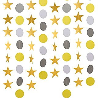 ANPHSIN 8 pack Paper Garland, total 104ft, Star and Circle Dots Party Banner Hanging Decoration for Wedding Holiday Birthday Party Baby Shower Bridal Shower
