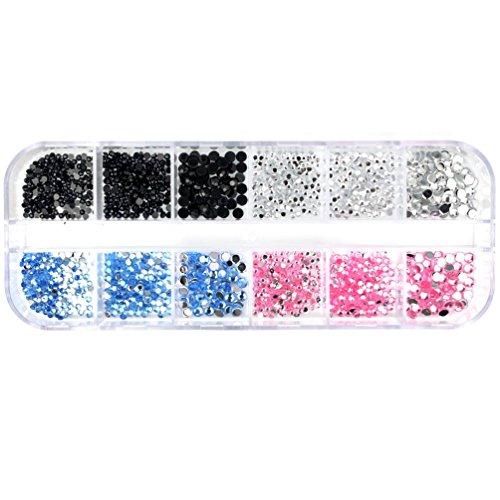 Glow Décoration d'ongle d'art, 4 couleurs de strass rhinestones NA86
