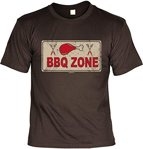 Motiv/Grill/Spaß-Shirt/Fun-Shirt/Rubrik lustige Sprüche: BBQ Zone - geniales Geschenk Braun