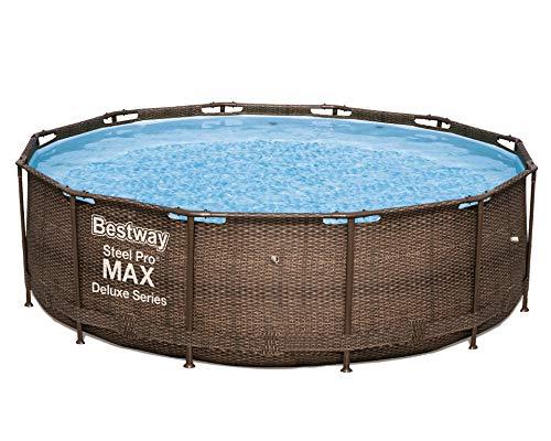 Bestway Steel PRO Max Deluxe | 56923 - Piscina Senza Pompa, Rotonda, Solo Struttura e Liner, Stampa Rattan, 366x100 cm