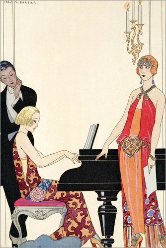 Posterlounge Alubild 120 x 180 cm: Beschwörung, Illustration für Gazette du Bon Ton, 1922 von Georges Barbier/Bridgeman - Erwägungsgrund Kostüm