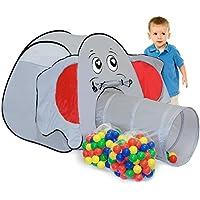 Tenda giocattolo per bambini JUMBO + Tunnel + 200 Palline Colorate | per bambini e bambine | Casetta gioco per interni ed esterni | Incl. borsa per il trasporto