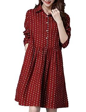 En Otoño Las Yardas Desgaste De Mujeres El Temperamento El Algodón Suelto Vestido.