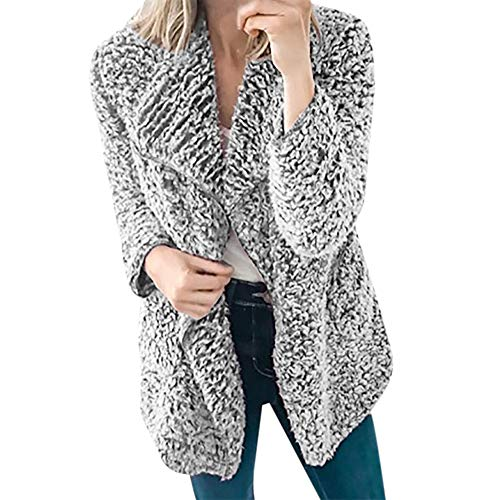 Dorical Damen Strickjacke Herbst Winter Langarm Casual Mode Kunstpelz Polyester Dick Open Stitch Jacket Clearance