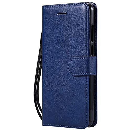 Lomogo [Huawei Y6 2018] Hülle Leder, Schutzhülle Brieftasche mit Kartenfach Klappbar Magnetverschluss Stoßfest Kratzfest Handyhülle Case für Huawei Y6 (2018) - LOKTU23154 Blau