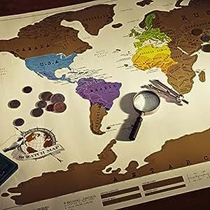 """FANTASTICO! Mappa Del Mondo, Vintage Design, Diario di Viaggio In Tutto Il Mondo """"Grattare Via"""" Personalizzato, Ottimo Regalo per Te/Amici/Ragazzo Manifersto Creativo, Avventura !88 x 52 cm"""
