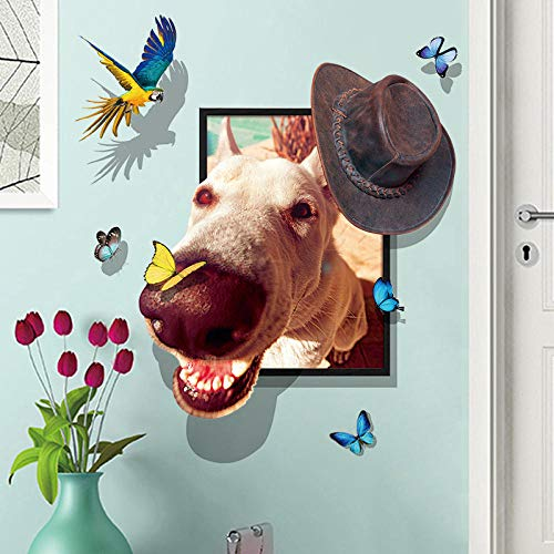 Wall stickers 3d funny cowboy dog   vinyl wall stickers kindergarten children's room decoration detachable wall applique art mural home decoration -
