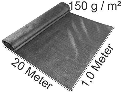 EXCOLO Schattiernetz gefaltet 1,0 Meter hoch, 20 Meter lang 150 g/m², Farbe grau anthrazit als Zaunblende Tennisblende Windschutnetz Bauzaunsichtschuz Blickschutz (20 Meter lang / 1,0 Meter hoch)