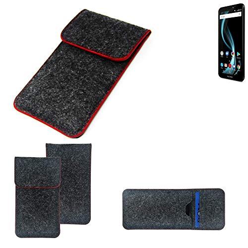K-S-Trade® Filz Schutz Hülle Für Allview X4 Soul Infinity L Schutzhülle Filztasche Pouch Tasche Case Sleeve Handyhülle Filzhülle Dunkelgrau Roter Rand