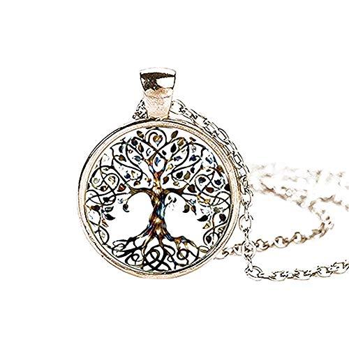 ELLAAO Frauen Halskette Baum des Lebens Anhänger Hals Kette Einstellbare Halskette Schmuck Geschenk (Des Schmuck 5 Lebens Unter Baum)