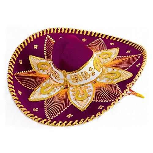 Burgundy and Gold Mariachi Sombrero by Unknown