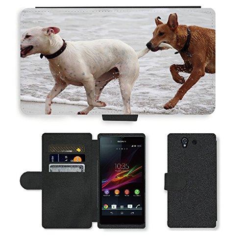 Just Phone Cases PU LEDER LEATHER FLIP CASE COVER HÜLLE ETUI TASCHE SCHALE // M00421764 Hunde Stöckchen zu spielen Beißen Romp // Sony Xperia Z5