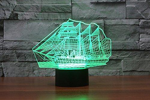 Weihnachten Geschenke 3D Leuchtet 7 bunte Farbe ändern Nachtlicht für Kinder und Jugendliche großen Schiff - 4
