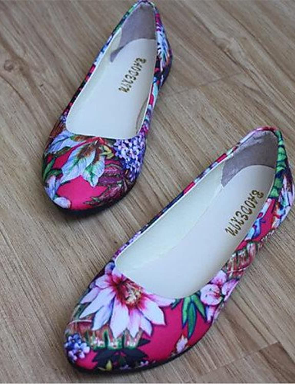 PDX/de zapatos de mujer talón plano punta redonda Flats Casual negro/azul/rojo/blanco