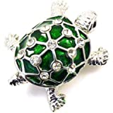 Brooches Store Green Enamel & Crystal Turtle Brooch