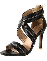 Offene Zehen Sandalen mit Reißverschluss und 10cm Absatz Elegant High Heels Sommer  Schuhe Damen 8faa06d6c2