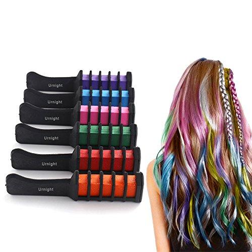 6 Stück Haarkreide Kamm,Temporär Haarfarbe Kreide Kamm für Teen Mädchen, Party, Cosplay, Salon Kunst DIY Frisur Highlight, Geschenk für Kinder, Leicht Färben und Waschen