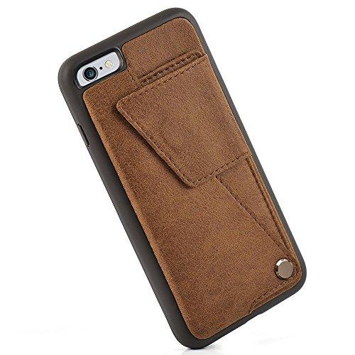 Custodia iPhone 6s, Case Portafoglio 6, Copertura Antiurto ZVE® in Supporto Porta Carte di Credito Protettiva, Flip Cover per Apple 6/6s 4.7inch Nero Marrone