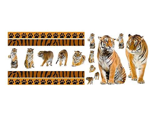 Wandsticker Sticker Aufkleber Set für Wohnzimmer Tiger Tatzen Bordüren Tiere (150x57cm)