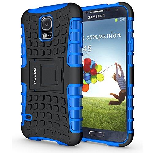 PEGOO Coque Galaxy S5, Antichoc Armure Housse par Le Souple TPU Silicone + Dur PC Double Mixte Protection Anti Scratch Cas Coque Housse Etui avec Support Cover Case pour Samsung Galaxy S5 (Bleu)