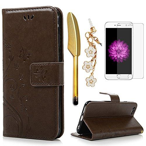 iPhone 6 / 6S Hülle (4,7 Zoll) Wallet Case Flip Hülle YOKIRIN Schmetterling Blumen Muster Schutzhülle PU Leder Brieftasche Ledertasche im Bookstyle für iPhone 6 6S Tasche Hellbraun
