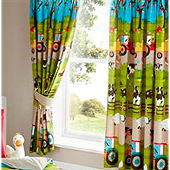Farmyard Animal Fully Lined Pair Of Curtains 66 Inch X 72 Inch 183 Cm  Bedroom Cow Tractor