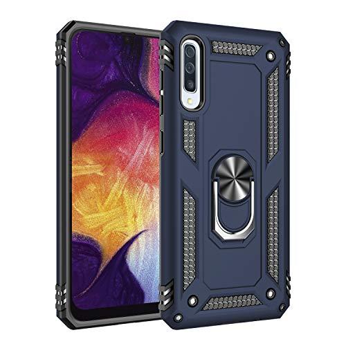 Kompatibel mit Galaxy A50 Hülle Galaxy A70 Hart Schutz Rüstung Handyhülle Magnetische Autohalterung Anti-Rutsch Schutz Anti-Fingerabdruck Hardcase (Blau, Galaxy A50)
