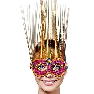 Folat-veneciano partido máscara (talla única, Magenta/dorado)