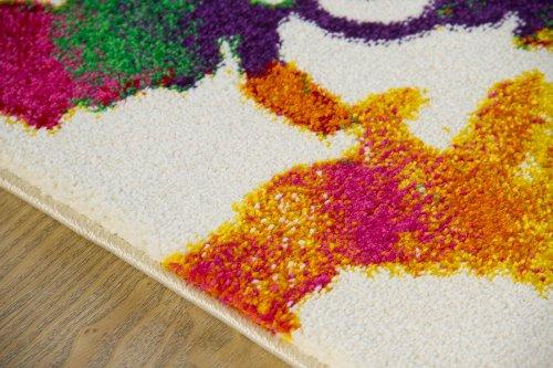 Modern Rug Picasso Flower Designer Carpet Vibrant Colours Soft Pile, Size 120x170 cm (4'x5'6